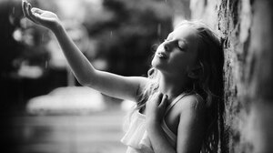 Children Monochrome Portrait Model Rain Photography Outdoors 2048x1414 Wallpaper