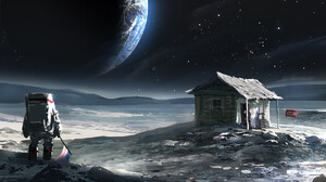 Artwork Science Fiction Humor Space Earth Planet USSR Cabin 1920x1027 Wallpaper