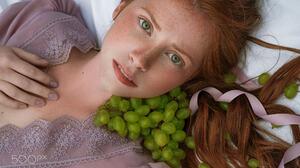 Daria Klepikova Women Redhead Freckles Frown Looking At Viewer Green Eyes Open Mouth Dress Grapes Fr 2048x1366 Wallpaper
