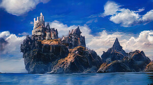 Artwork Digital Art Mountains Castle Sea Clouds 1656x1024 Wallpaper