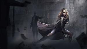 Blonde Cyberpunk Cyborg Futuristic Girl Woman Warrior 3840x1920 wallpaper