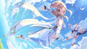 Genshin Impact Lumine Genshin Impact Paimon Genshin Impact White Dress Flying Pine1230 Blonde Silver 2000x1280 Wallpaper