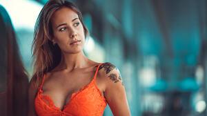 Women Tanned Orange Dress Tattoo Portrait Reflection Marco Squassina Brunette Inked Girls Looking Aw 2048x1311 Wallpaper