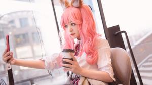 Asian Pink Hair Long Hair Coffee Outdoors Slim Body Cosplay Shika XiaoLu 4032x2687 Wallpaper