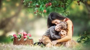 Mother Children Dog Animals Women Outdoors Women Baskets Food Fruit Apples Dark Hair Brunette 2500x1668 Wallpaper