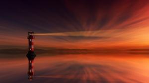 Light Lighthouse Reflection Sunset 6000x3375 Wallpaper