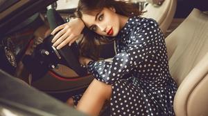 Brunette Girl Lipstick Model Woman 2560x1707 Wallpaper