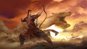 Oriental Warrior Bow Dragon Dust Man 1920x1080 Wallpaper