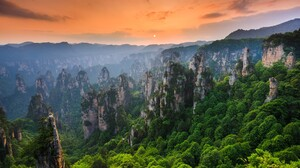 Nature Landscape Sun Sunset Mountains Trees Forest Rock Formation Clouds Sky Zhangjiajie National Pa 1920x1080 wallpaper