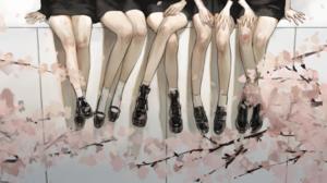 Anime Anime Girls Sakura Tree Boots Socks Sitting 2300x850 Wallpaper