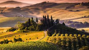 Landscape Tuscany Italy Vineyard Field 3440x1440 Wallpaper