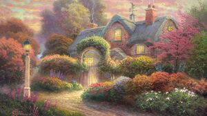 Artistic Colorful Cottage Painting 3000x2000 Wallpaper