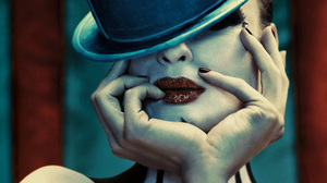 Women Model Face American Horror Story TV Top Hat Finger On Lips Red Lipstick Painted Nails 1920x1080 Wallpaper