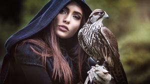 Woman Girl Bird Falcon Brunette Blue Eyes 2048x1319 Wallpaper