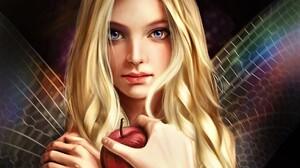 Apple Artistic Blonde Fairy Fantasy Girl Wings Woman 1899x1508 Wallpaper