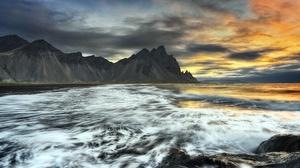 Sea Sunset Shore Rock Iceland Vestrahorn Mountain 2000x1300 Wallpaper