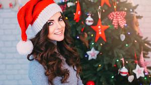 Blue Eyes Brunette Christmas Girl Model Santa Hat Smile Woman 3000x2000 Wallpaper