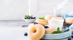 Blueberry Doughnut Still Life 5760x3840 Wallpaper