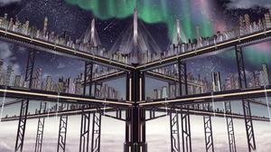 Aurora Borealis Bridge City Futuristic Shooting Star Starry Sky 2000x1360 Wallpaper