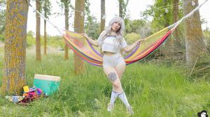 Women Model Silver Hair White Tops Legs Crossed Socks Bangs Looking At Viewer Tattoo Inked Girls Out 4000x2667 Wallpaper
