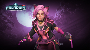 Animal Ears Belt Coat Dagger Girl Glove Maeve Paladins Necklace Paladins Video Game Pink Hair Short  1920x1080 Wallpaper