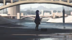 Anime Girls Artwork Cityscape Dark Bridge Cellphone Raincoat 2560x1440 Wallpaper