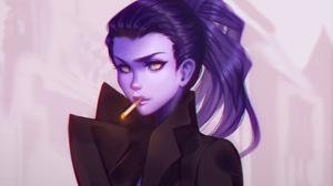 Amelie Lacroix Widowmaker Overwatch Overwatch Cigarettes Purple Skin Purple Hair Yellow Eyes Video G 2828x2104 Wallpaper