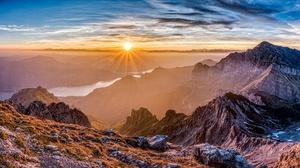 Sky Sunbeam Mountain River France Pyrenees Sunrise Nature 4600x2200 Wallpaper