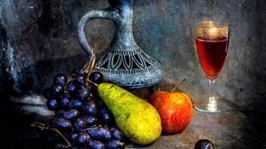 Apple Grapes Pear Pitcher Still Life Wine 1920x1353 Wallpaper