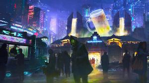 People Night City Futuristic 3840x2170 Wallpaper