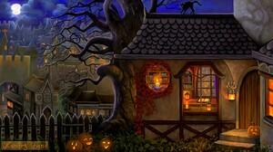 Cat Halloween Holiday House Jack O 039 Lantern Night Tree 1600x900 Wallpaper
