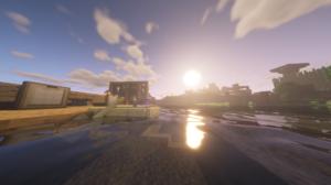 Minecraft Boat Water Nature 1920x1080 Wallpaper