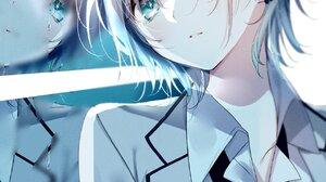 Anime Anime Girls Tie Blue Hair Shirt Earring Short Hair Green Eyes School Uniform THE IDOLM STER To 1270x2000 Wallpaper