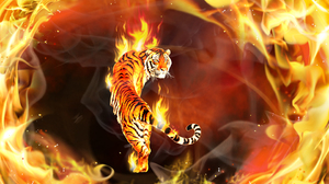 3d Abstract Cgi Digital Art Fire Flame Psychedelic Tiger 2880x1800 Wallpaper