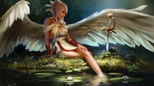 Girl Pond Wings Sword 2500x1563 wallpaper