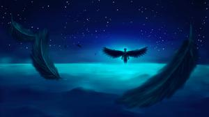 Angel Ocean Silhouette Starry Sky 4092x2301 Wallpaper