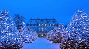Christmas Tree Germany Light Palace Snow White 1920x1080 Wallpaper