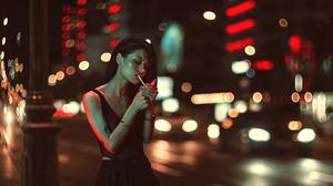 Street City Cityscape Urban Night Women Long Hair Portrait Photography People 2500x1406 Wallpaper