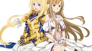 Anime Girls Sword Art Online Yuuki Asuna Alice Zuberg Blonde Brunette Long Hair Armor Dress 2048x1448 Wallpaper
