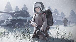 Anime Girls Soviet Army Military USSR Tank War PPSh 41 Winter Ushanka Uniform 2560x1600 Wallpaper