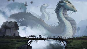 Artwork Digital Fantasy Art Dragon Grass Rocks Birds Giant People Mist Wooden Bridge Kalfy 1920x1152 Wallpaper
