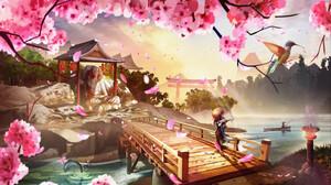 Anime Landscape Musical Instrument Andy Jaramillo Cherry Blossom Petals Temple Torii Bridge 1920x1080 Wallpaper