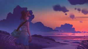 Artwork SouredApple Landscape Sunset Clouds Women Beach 3840x1608 Wallpaper