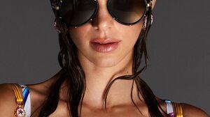 Kendall Jenner Women Dark Hair Long Hair Brunette Simple Background Fashion Women With Shades Wet Ha 1080x1350 Wallpaper