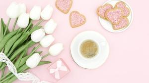 Flower Heart Shaped Tulip Drink Still Life White Flower 5472x3648 Wallpaper