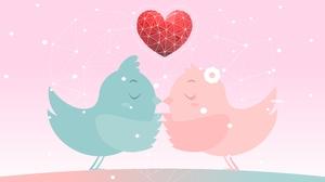 Bird Couple Digital Art Heart Love 6301x4501 Wallpaper