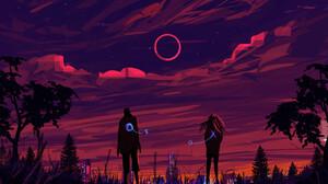 Muhammad Nafay Digital Art Illustration Cityscape Clouds Suicide Sheep Night Concept Art Stars 3000x3000 Wallpaper