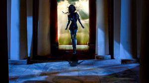 God Sky Night Temple Blue Yellow Armor Eyes Column 2191x2891 Wallpaper