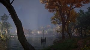 Assassins Creed Valhalla Assassins Creed Landscape Water Sky Trees Fall Boat Longships PC Gaming Vid 3440x1330 Wallpaper