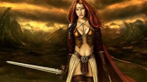 Fantasy Girl Red Hair Redhead Sword Woman Woman Warrior 1680x1050 wallpaper
